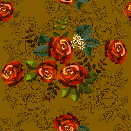 Embroidery ethnic seamless pattern with roses and outline on yellow oxide color background. l design for fashion fabric or paper  イラスト・ベクター素材