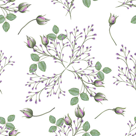 Seamless pattern rose with flowers bud and leaves on white back ground