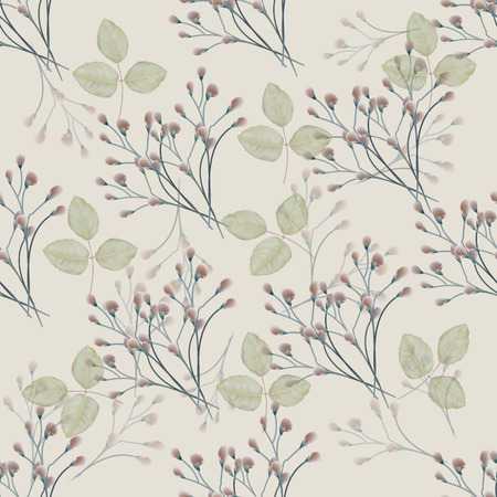 Seamless pattern rose with flowers bud and leaves on beige background