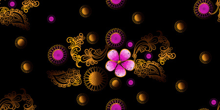Graphic flower gold and pink seamless pattern on black background,vector illustration