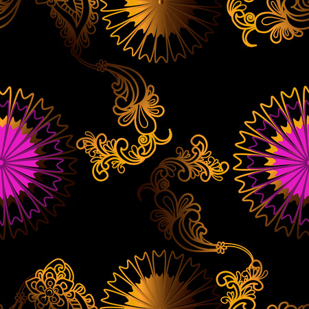 Graphic flower gold and pink seamless pattern on black background
