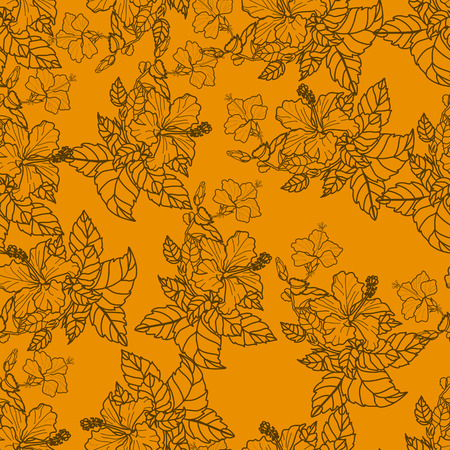 Seamless pattern with hibiscus on orange background. Collection decorative floral design elements. Vintage hand drawn vector illustration