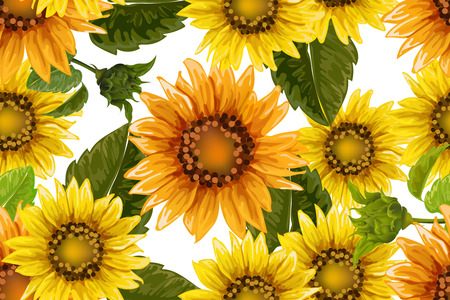 Seamless pattern with sunflowers on white background. Collection decorative floral design elements. Vintage hand drawn vector illustration