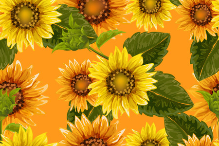Seamless pattern with sunflowers on orange background. Collection decorative floral design elements. Vintage hand drawn vector illustration