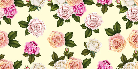 Seamless pattern rose with flowers bud and leaves on blue background