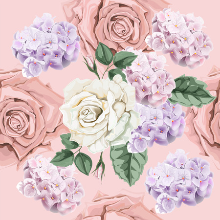 Seamless background pattern.Roses and hydranyea with leaves. Watercolor, hand drawn. on beige background Vector illustration  イラスト・ベクター素材