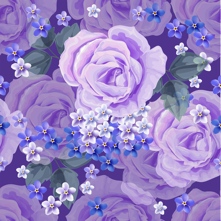 Seamless  pattern.Purple roses and for get me not flower  with leaves.hand drawn. on purple background Vector illustration Çizim