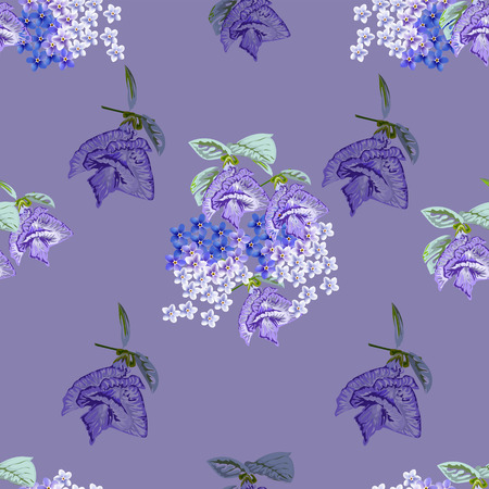 Seamless pattern with butterfly pea and forget me not flower on purple background. Vettoriali