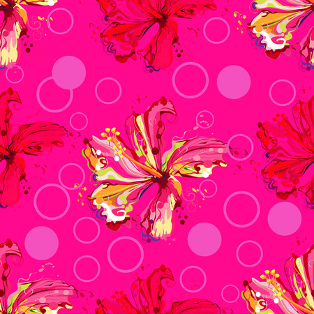 Seamless background pattern flower astract create from hibiscus flower ,colorful on magenta color background