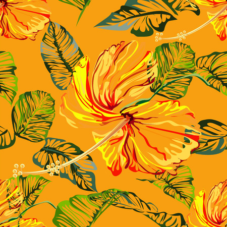 Seamless background pattern flower astract create from hibiscus flowerand green leaves l on orange background,vector illustration Illustration