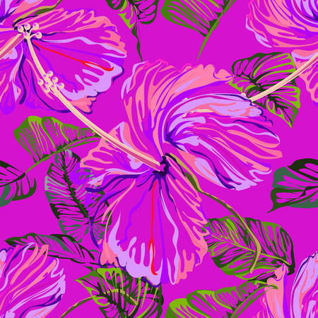 Seamless background pattern flower astract create from hibiscus flower , colorful on pink background