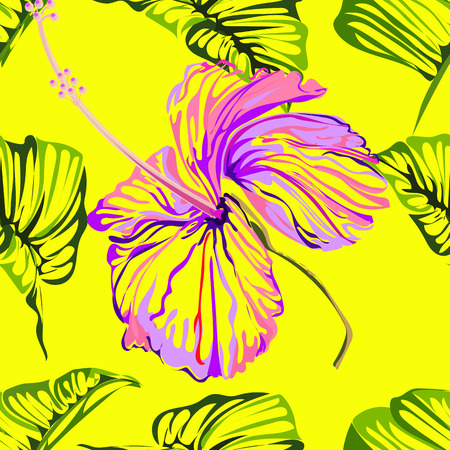Seamless background pattern flower astract create from hibiscus flowerand green leaves ,purple colorful on yellow background,vector illustration