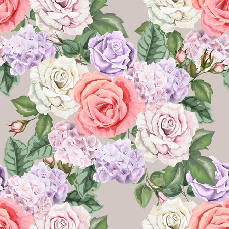 Seamless background pattern.Roses and hydranyea with leaves. Watercolor, hand drawn. Vector illustration  イラスト・ベクター素材