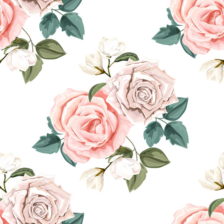 Seamless floral pattern.Rose and magnolia with leaves
