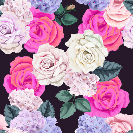 Seamless floral pattern.Rose and hydranyea with leaves on violet background  イラスト・ベクター素材