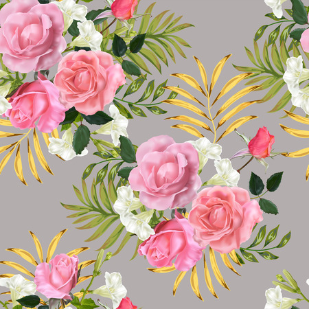 Seamless background pattern.Pink roses with leaves. on beige background Vector illustration