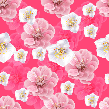 Chinese plum flowers seamless pattern on pink background,vector illustration  イラスト・ベクター素材