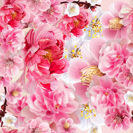 Chinese plum and peony flowers pink color seamless background pattern,vector illustration 向量圖像