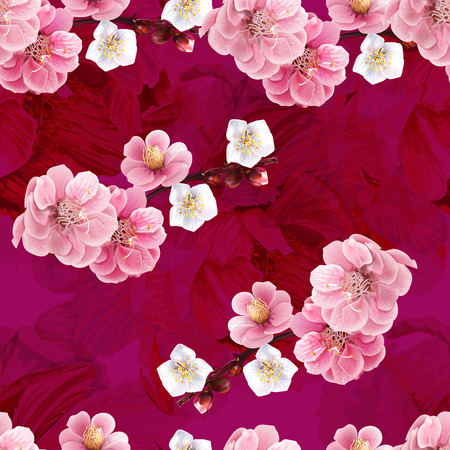 Chinese plum and peony flowers pink color seamless background pattern,vector illustration  イラスト・ベクター素材