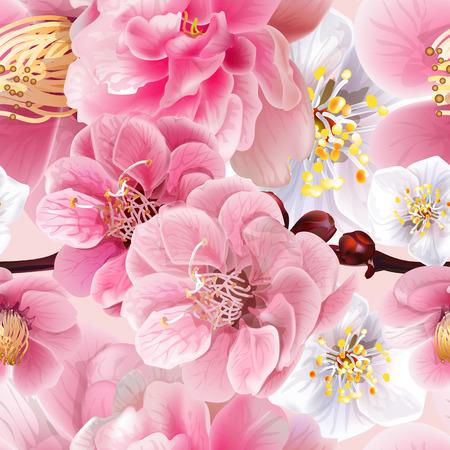 Chinesische Pflaume blüht rosa nahtloses Hintergrundmuster, Vektorillustration