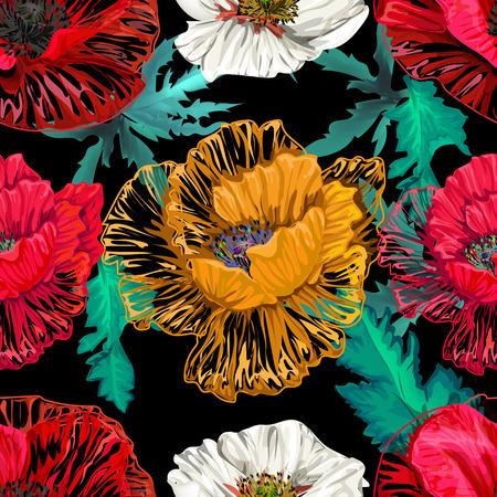Modèle sans couture de fleurs de pavot