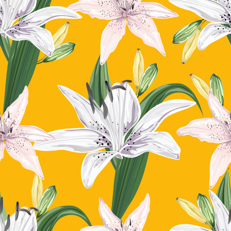 Floral seamless pattern,Lily flowers on yellow background