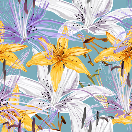 Floral seamless pattern,Lily flowers abstract style on blue background  イラスト・ベクター素材