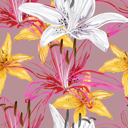 Floral seamless pattern,Lily flowers pink ,white,yellow colors,abstract style on pink background