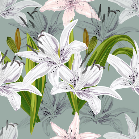 Floral seamless pattern,Lily flowers abstract style on blue background