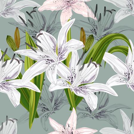 Patrón floral transparente, estilo abstracto de flores de lirio sobre fondo azul