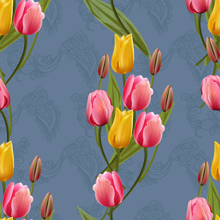 Seamless pattern with tulips flowers. Trendy fashion vector illustration.