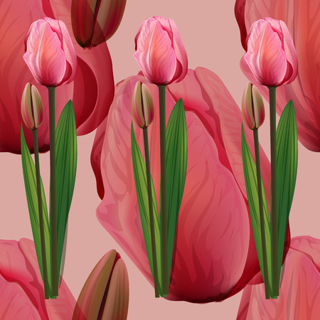 Seamless pattern with tulips flowers on pink background. Trendy fashion vector illustration.