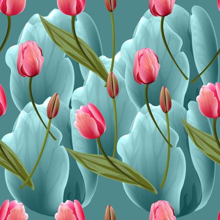 Modello senza cuciture con i fiori dei tulipani su sfondo blu. Illustrazione vettoriale di moda alla moda.