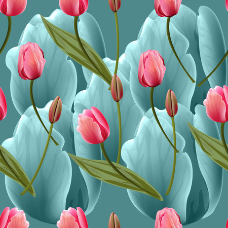 Seamless pattern with tulips flowers on blue background. Trendy fashion vector illustration.  イラスト・ベクター素材