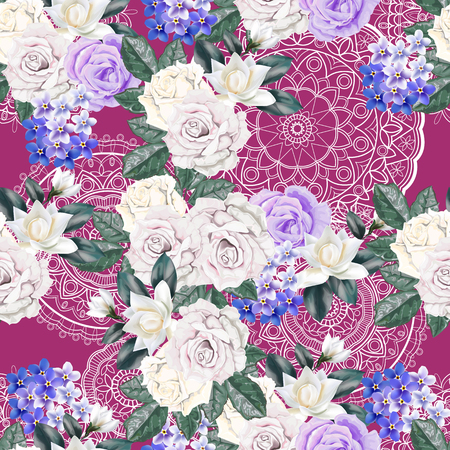 Floral seamless pattern,Roses,magnolia,for get me not and lace on pink background