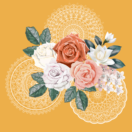 Floral bouquet,Roses and lace on orange background