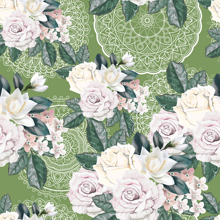 Floral seamless pattern,Roses,magnolia,for get me not and lace on green background