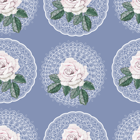 Floral seamless pattern,Roses and lace on blue background