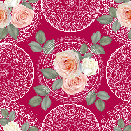 Floral seamless pattern,Roses and lace on pink background  イラスト・ベクター素材