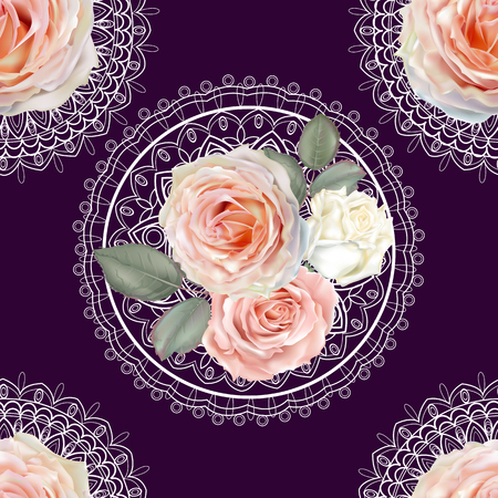 Floral seamless pattern,Roses and lace on purple background