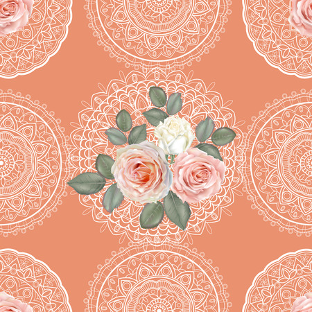 Floral seamless pattern,Roses and lace on orange background  イラスト・ベクター素材