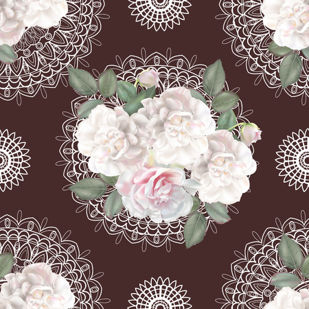 Floral seamless pattern,Roses and lace on brown background