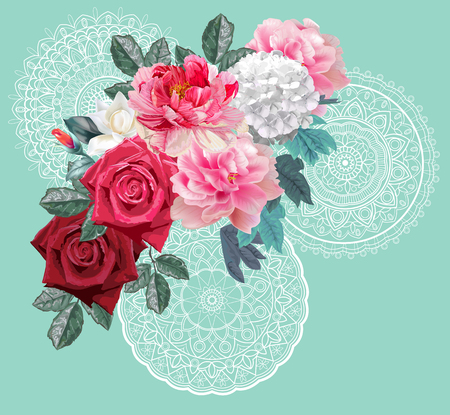 Peonies ,hydrangea and leaves bouquet on lace and green background  イラスト・ベクター素材