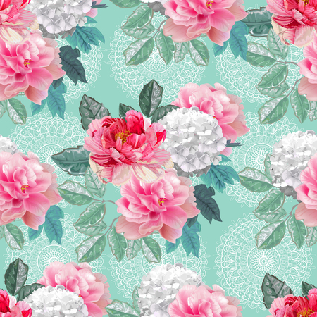 Floral seamless pattern,Peonies ,hydrangea and leaves