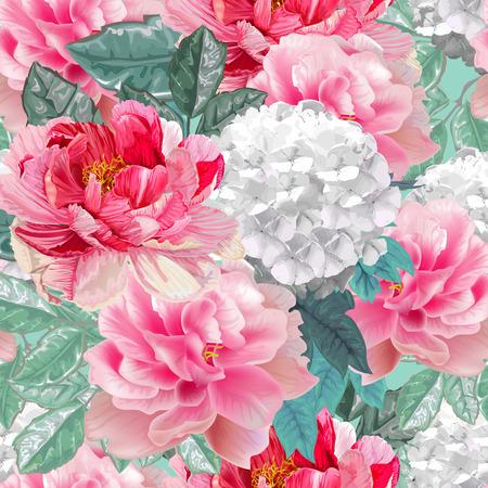 Kwiatowy wzór, piwonie, hortensja i liście