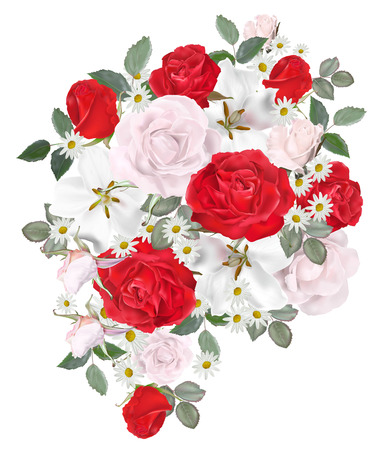 Floral beautiful bouquet - Rose and daisy vector illustration