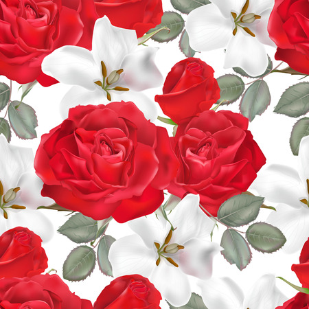 Floral seamless pattern- white and red roses vector illustration-vector