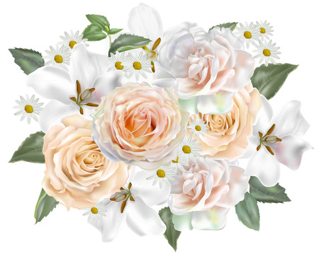 Floral beautiful bouquet - Rose and Gardenia vector illustration
