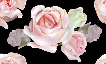 Rose pink color seamless pattern on black background Ilustracja