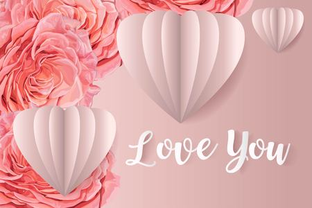 Pink rose of love you vector